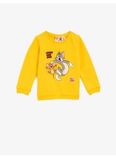 Koton Pamuklu Tom&Jerry Lisansli Baskili Bisiklet Yaka Sweatshirt Sarı